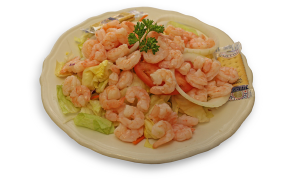 Garden Salad with Cold Boiled Popcorn Shrimp