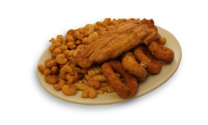 Fried Flounder and Baby Shrimp
